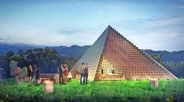 台中花博后里森林園區邀國際建築大師隈研吾打造積木概念館模擬圖。