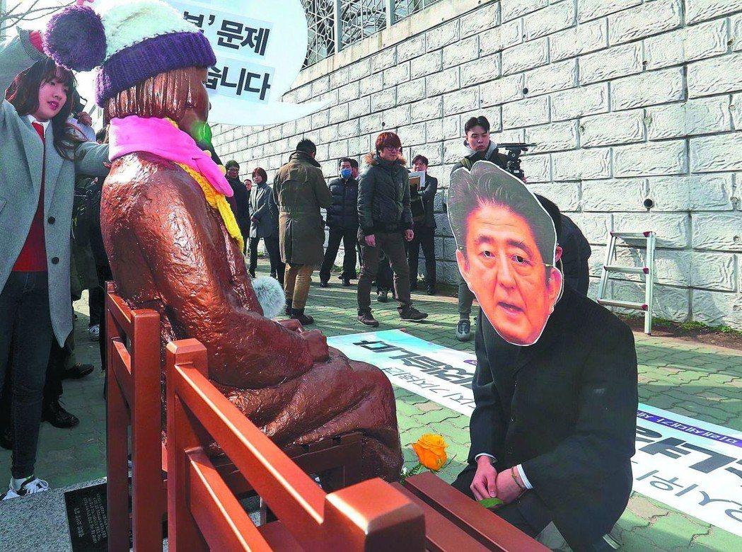 南韓抗議者戴上日本首相安倍晉三的面具,跪在慰安婦少女雕像前。 (法新社)