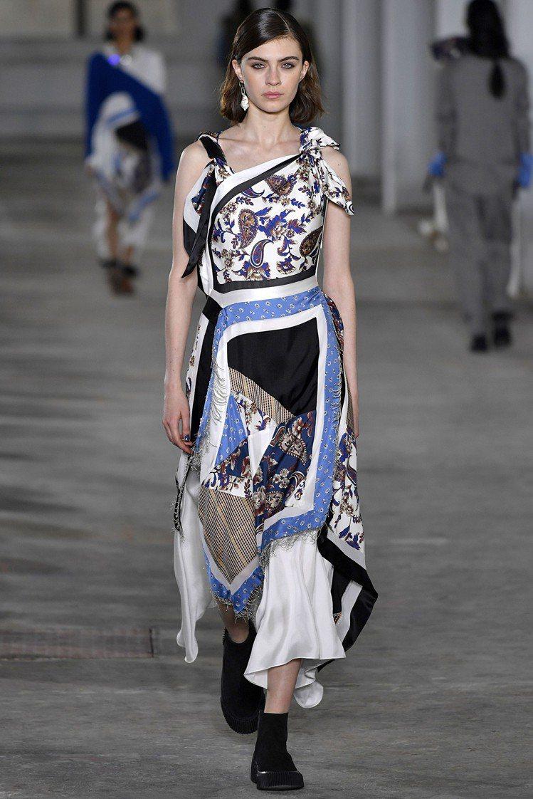 白色絲質手帕拼接洋裝,售價42,500元。圖/3.1 Phillip Lim提供