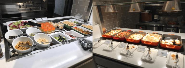 自助沙拉吧台與熱食選項,外觀和味覺有些普普通通 圖文來自於:TripPlus