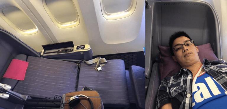 泰國航空的牙醫床座位,只能傾斜到163度,不舒服 圖文來自於:TripPlus