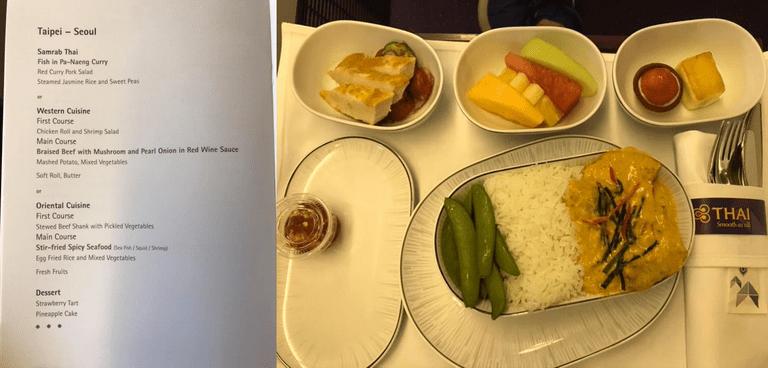 短程航線的午餐,泰式料理選項-泰式咖哩 (Pa-Naeng) 魚配泰國香米及香豌...