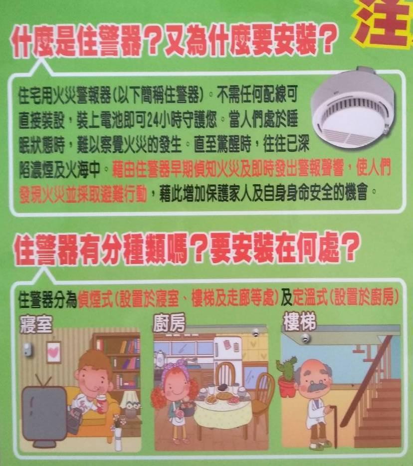 住警器必須安裝寢室、廚房、樓梯間、走廊等地點的天花板或是牆上,才能發揮作用。圖/...