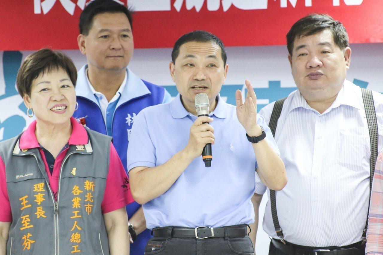 日前國民黨新北市長參選人侯友宜(中)指出,長官都是出一張嘴。記者王敏旭/攝影