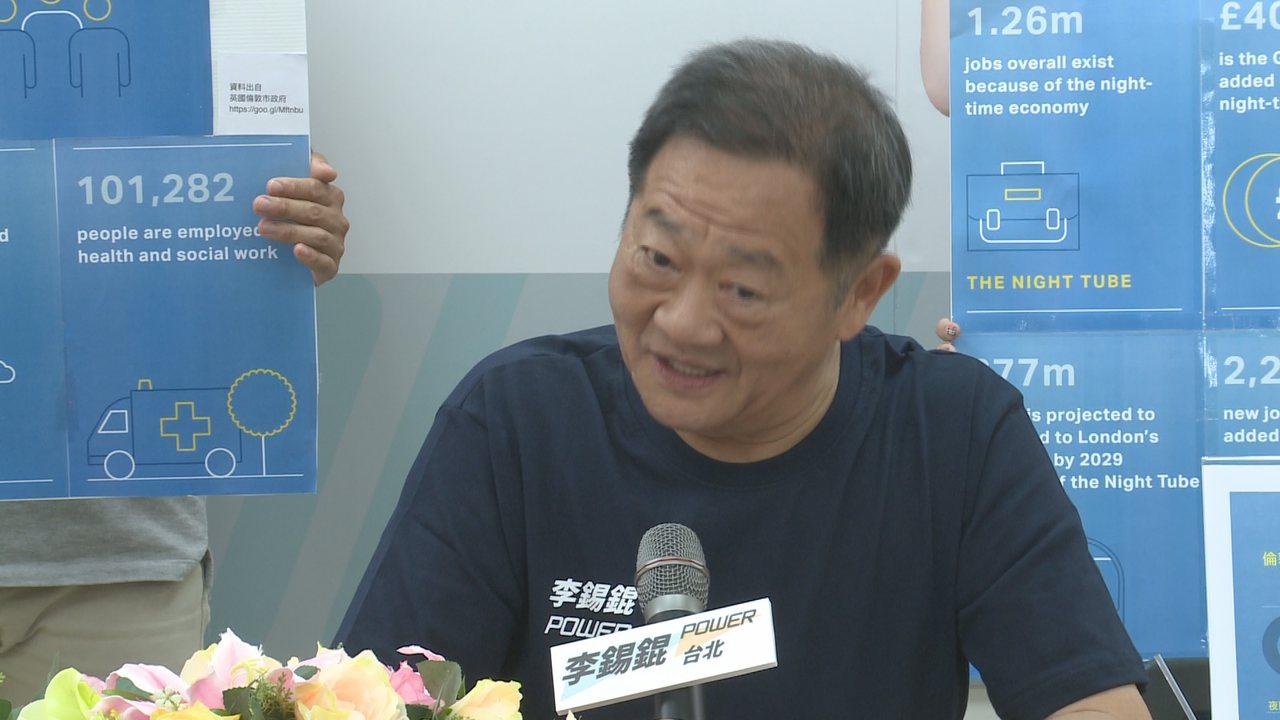 無黨籍台北市長參選人李錫錕宣布倒數選舉「破百日」,並發布競選政見。攝影/記者顏凱...