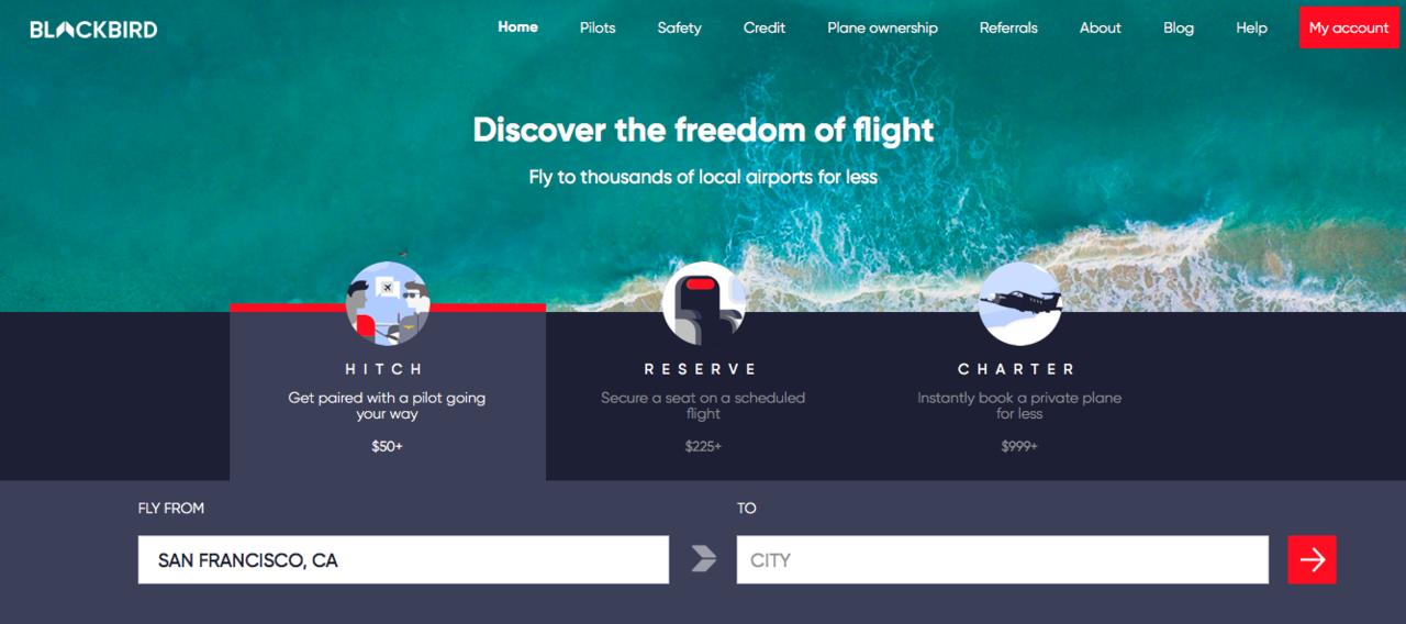 美國公司Blackbird推出私人飛機共乘服務。圖/Blackbird官網