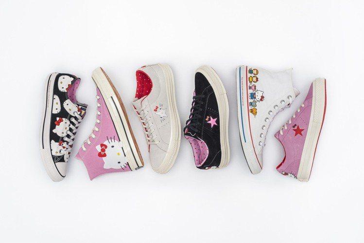 Hello Kitty佔據了Converse經典帆布鞋,讓人每一款都想買。圖/C...
