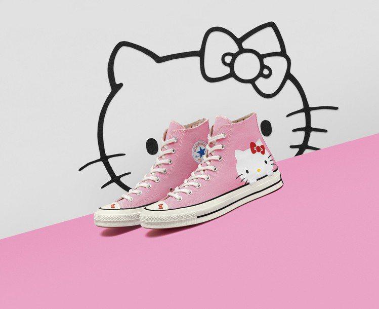 Converse與Hello Kitty聯名Chuck70系列粉紅色高筒鞋,3,...