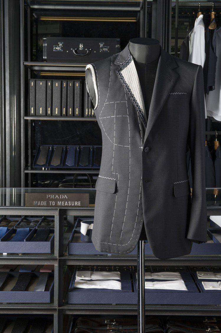PRADA男裝量身訂製服務提供超過300種西裝面料、30種外套面料和約230種襯...