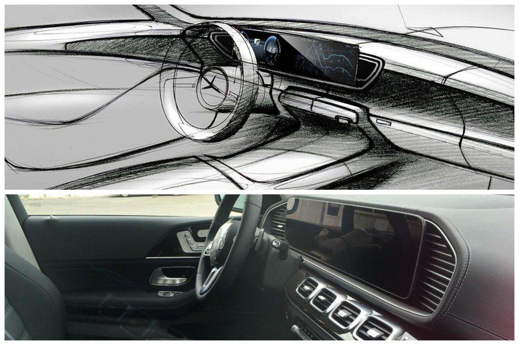 全新Mercedes-Benz GLE所曝光的無偽裝內裝照,與設計草圖幾乎一致。...