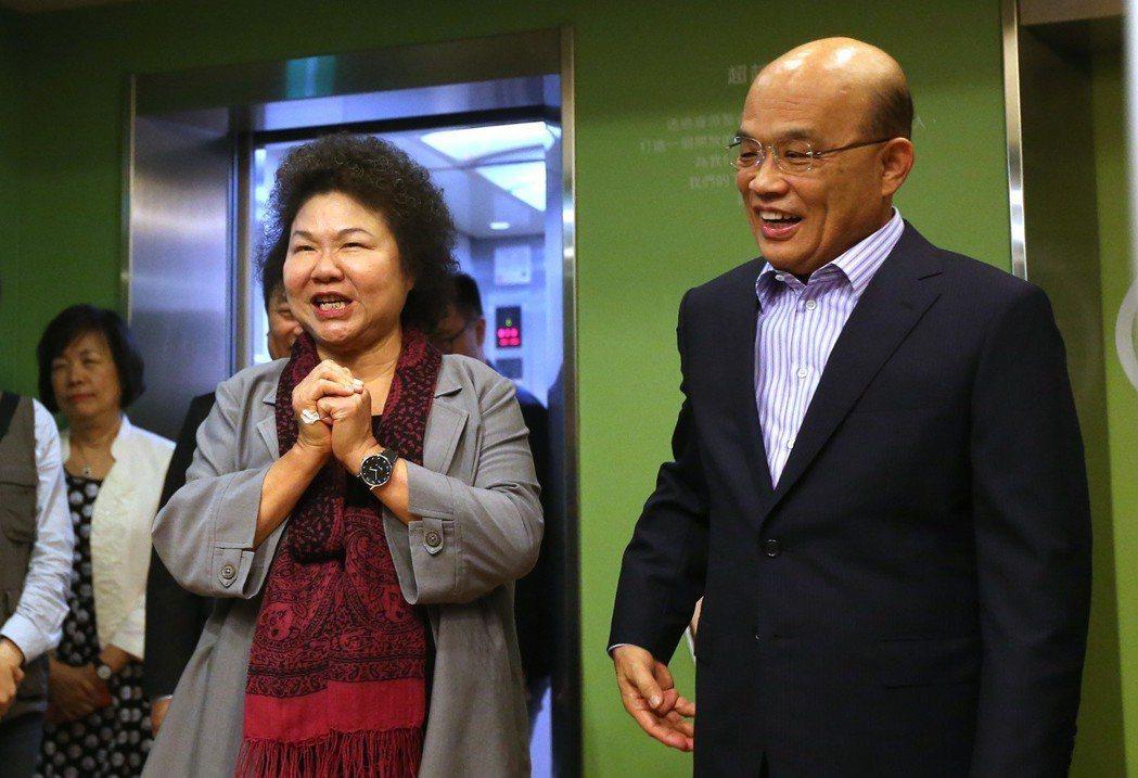 總統府秘書長陳菊(左)勸說蘇貞昌參選新北市長,並出任蘇競選辦公室主委。 圖/聯合...