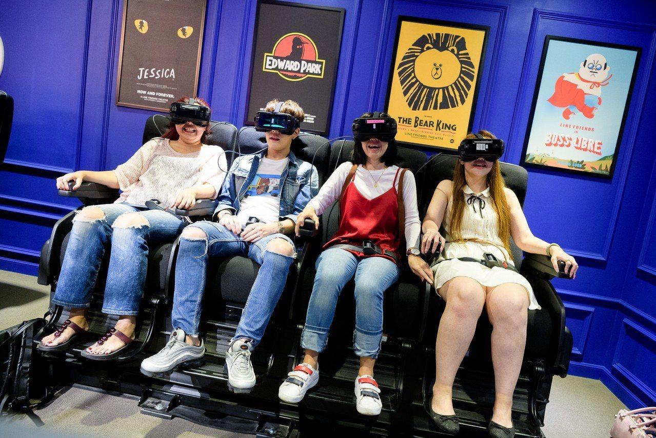 結合VR互動科技,與LINE角色一起坐雲霄飛車。圖/LINE VILLAGE提供