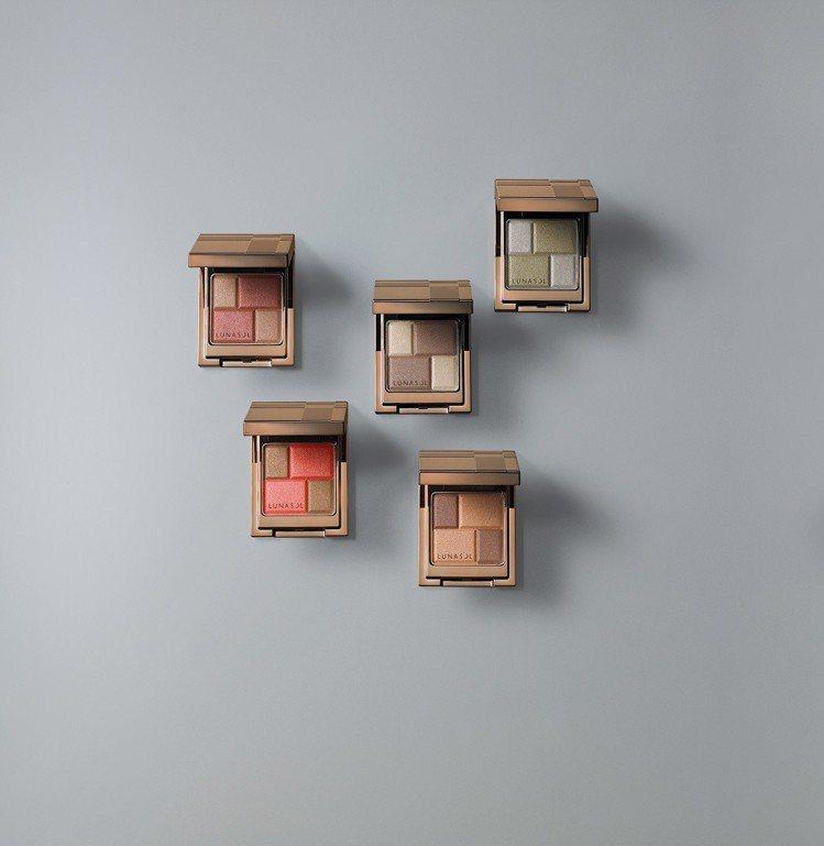 LUNASOL晶巧絲柔眼彩限定5色,各1,050元。圖/LUNASOL提供