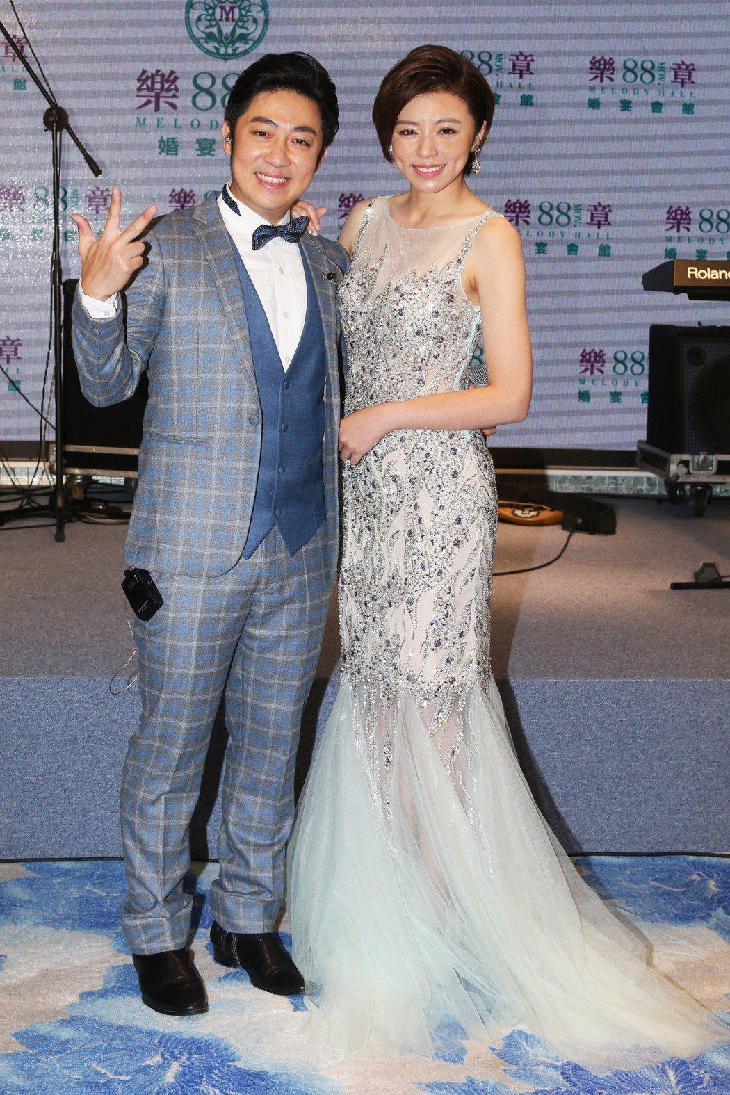 王瞳、艾成合體出席婚宴會館開幕活動。記者徐兆玄/攝影