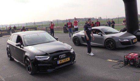 超兇Audi RS3膽子夠大 竟敢PK自家R8與各家超跑