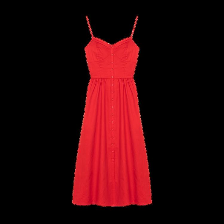 Maje Rimana紅色細肩帶洋裝,售價9,050元。圖/Maje提供