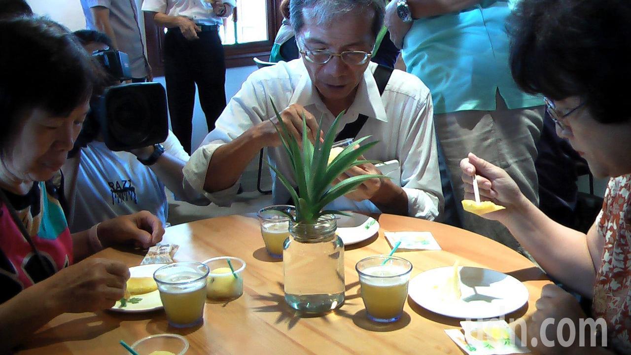 台灣鳳梨工場園區裡可以品嘗到鳳梨酵素汁、鳳梨冰等。記者徐如宜/攝影