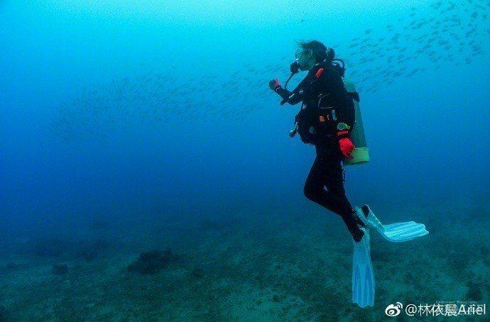 林依晨po潛水美照,透露在七夕情人節收到最棒的禮物。圖/摘自微博