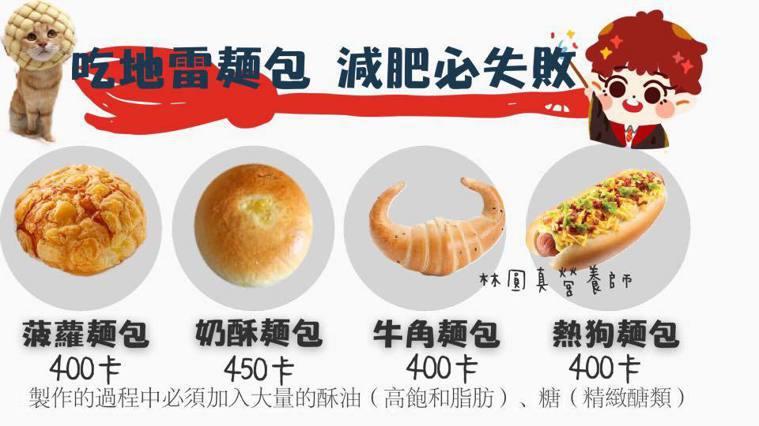 吃地雷麵包,減肥必失敗。取自圓圓營養師臉書