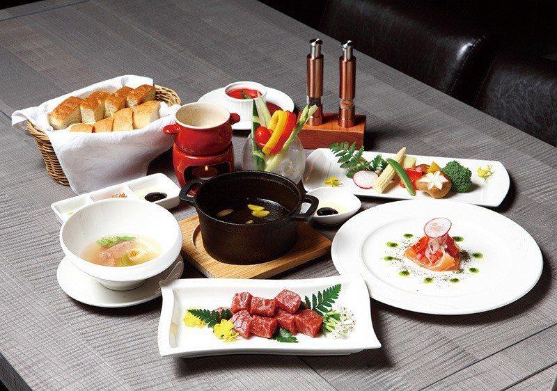 瑞士橄欖油鍋套餐1660元/將新鮮牛肉下鍋油炸,吃得到肉質鮮味,套餐另附前菜、沙...