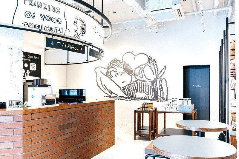 首次進軍關西的PEANUTS Cafe風格明亮可愛,位於1樓。