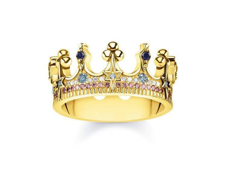 純銀鍍金彩寶皇冠戒指,12,800元。圖/THOMAS SABO提供
