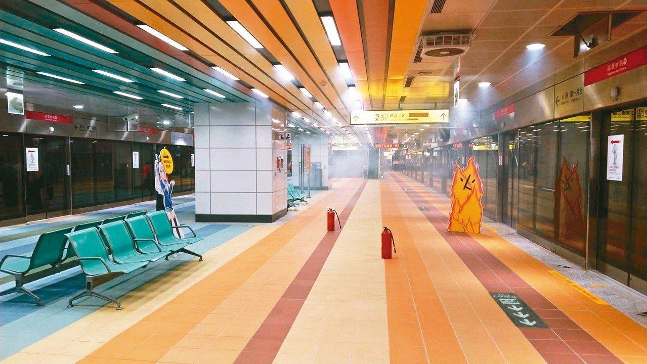 高捷高雄車站永久站昨天履勘,演練狀況為車站月台層發生火災產生濃煙以及電力中斷。 ...