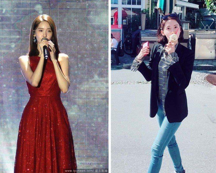 潤娥最近的髮型屬中長髮(左),曬出的旅遊照是去年所拍。圖/達志影像、擷自inst...