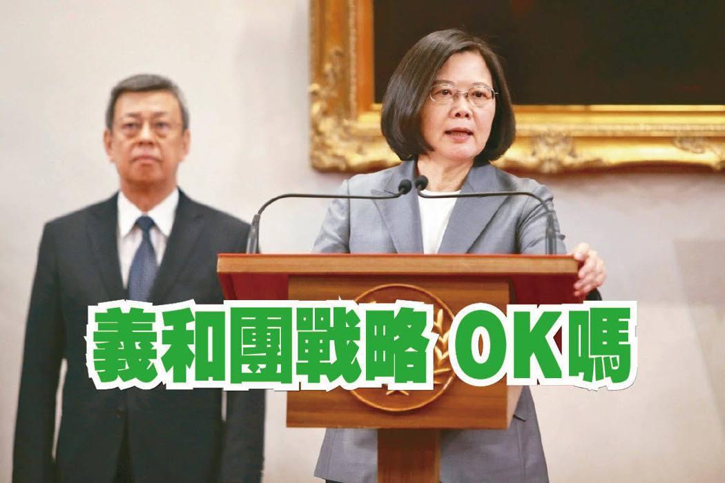 蔡英文總統22日表示,台灣不會因為對岸壓力而屈服。圖/聯合報系資料照片