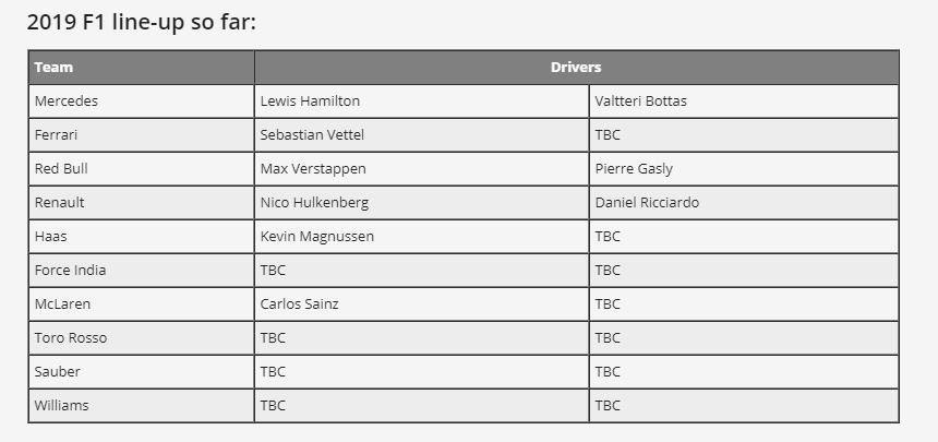 2019賽季各隊表定車手。 摘自motorsport.com