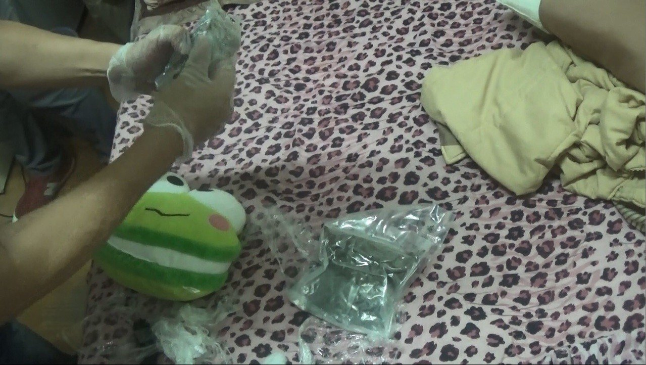 毒品藏在青蛙布偶內。記者謝恩得/翻攝