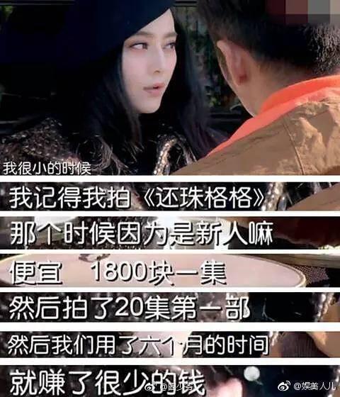 范冰冰透露自己拍攝「還珠格格」一集只拿1800元人民幣。圖/摘自微博