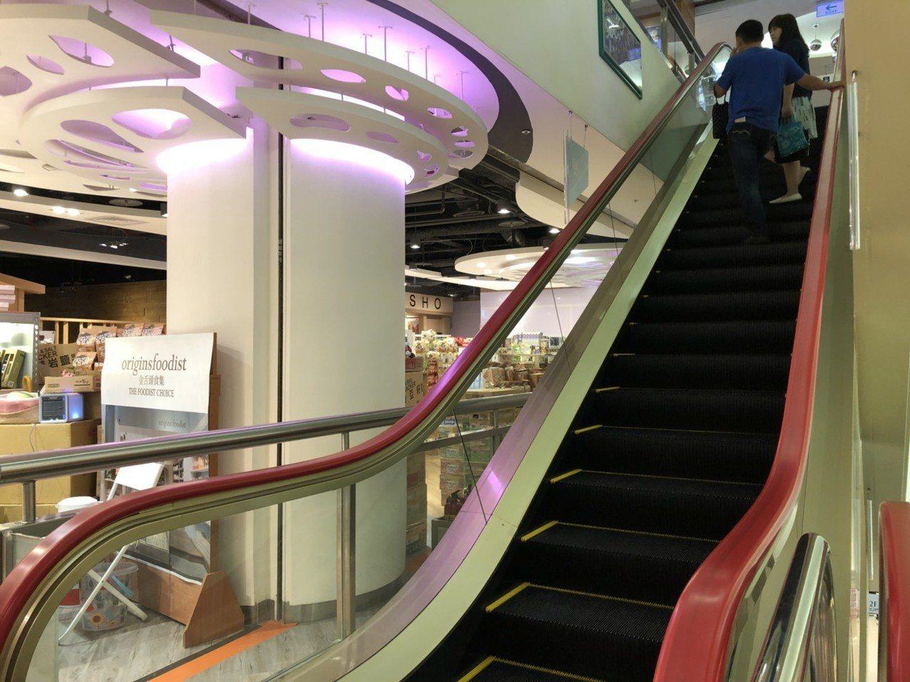 台中廣三SOGO百貨20日下午發生13歲劉姓少女搭乘手扶梯時,頭部和左肩遭上升的...