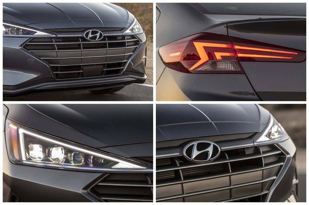 小改款Hyundai Elantra車身外觀增添了不少幾何元素。 摘自Hyund...
