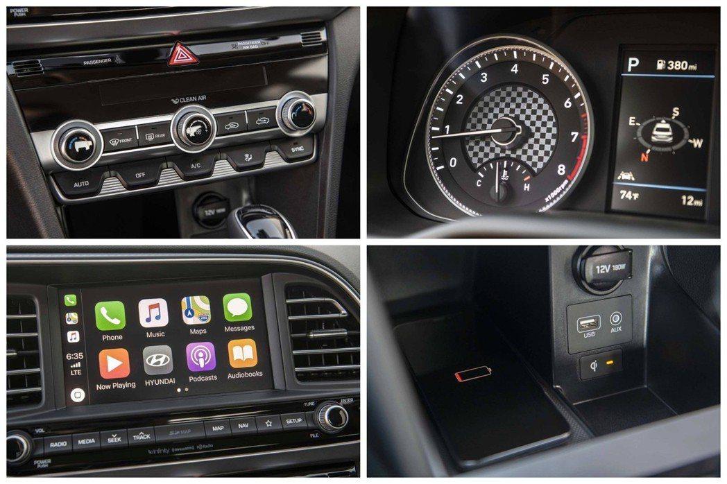 小改款Hyundai Elantra內裝,付有無線充電板。 摘自Hyundai