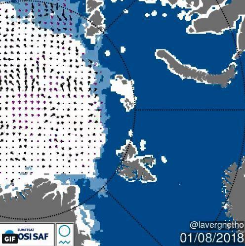 格陵蘭海岸線露出。圖擷自Twitter/Thomas Lavergne