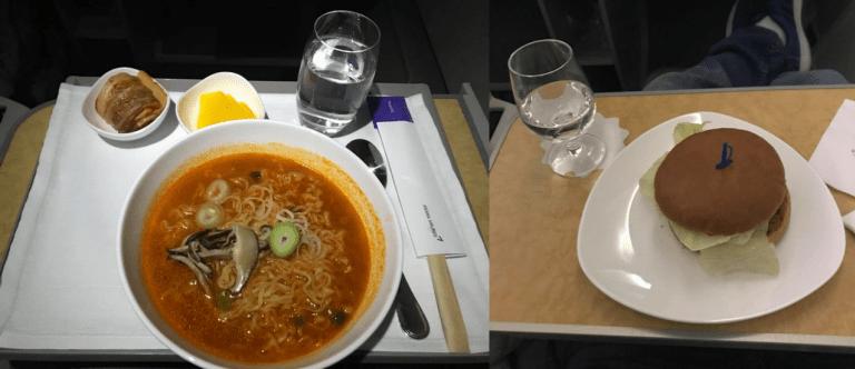 韓亞航空的小點心-辛泡麵和牛肉漢堡 圖文來自於:TripPlus ※ 提醒您...