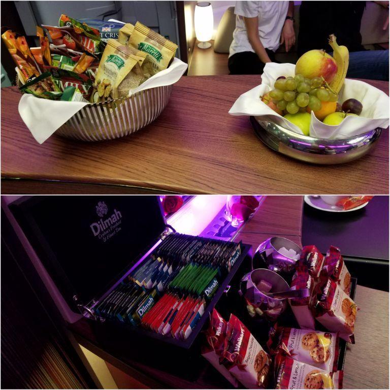巴黎~多哈航班,空中酒吧上的零食/水果與茶包 圖文來自於:TripPlus