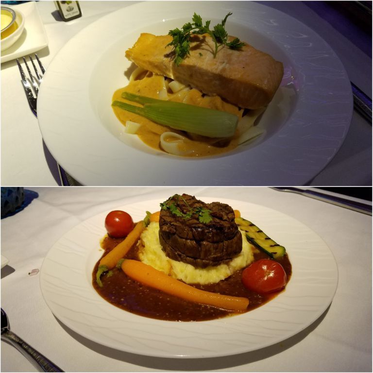 普通不起眼的鮭魚排+義大利麵(上圖),以及很雷的牛排(下圖) 圖文來自於:Tri...