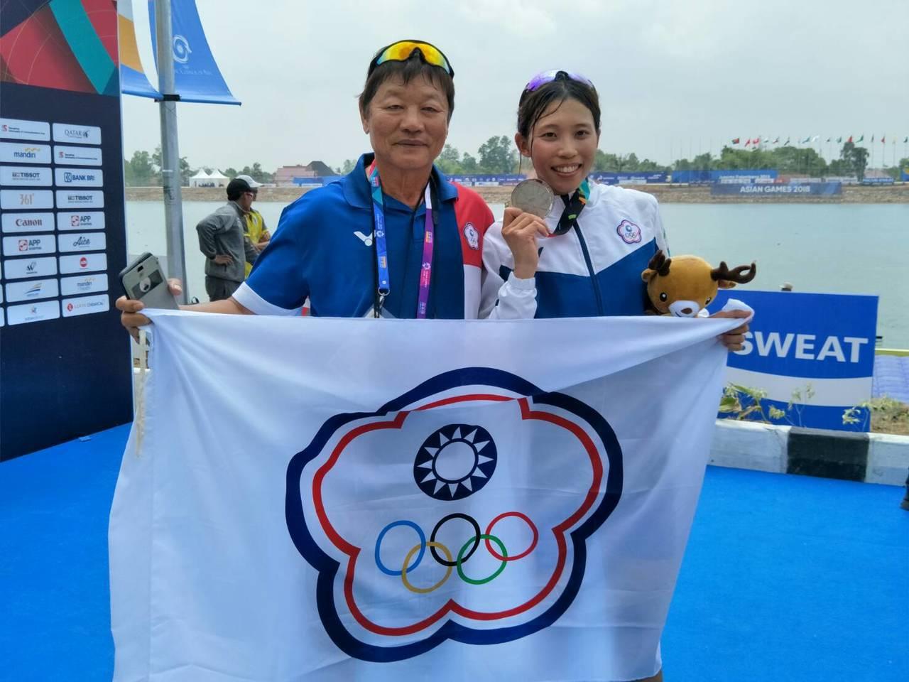 黃義婷(右)在女子單人雙槳項目喜獲銀牌。圖╱中華奧會提供