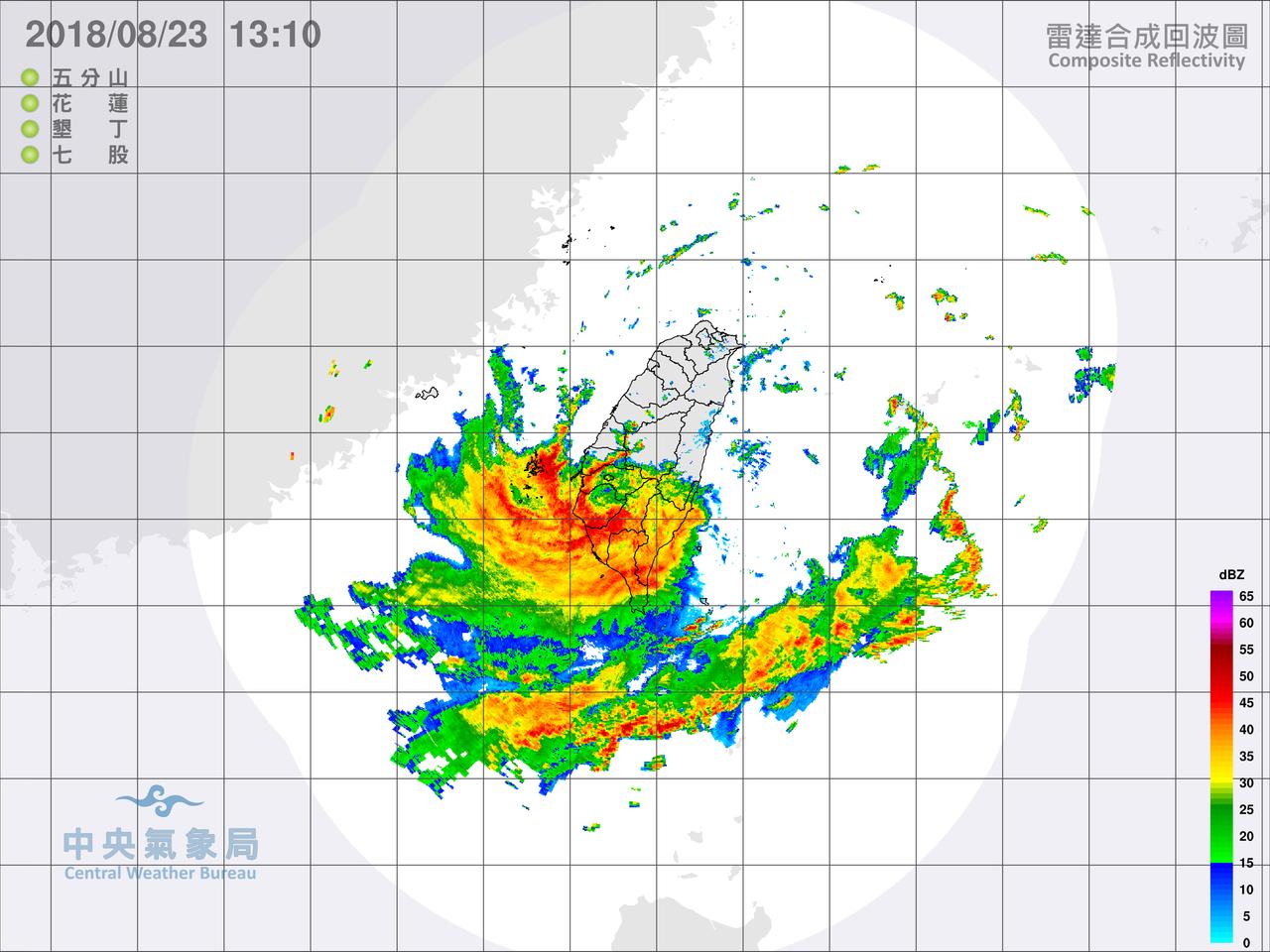 中央氣象局針對台南、高雄發布大雷雨即時訊息,並已針對此大雷雨發布細胞廣播示警(P...