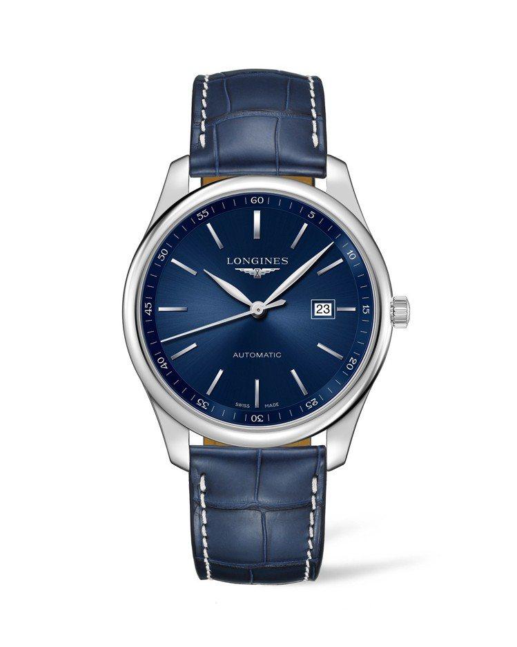 浪琴巨擘系列午夜藍腕表,不鏽鋼表殼搭配午夜藍表盤、鱷魚皮表帶,約6萬7,400元...