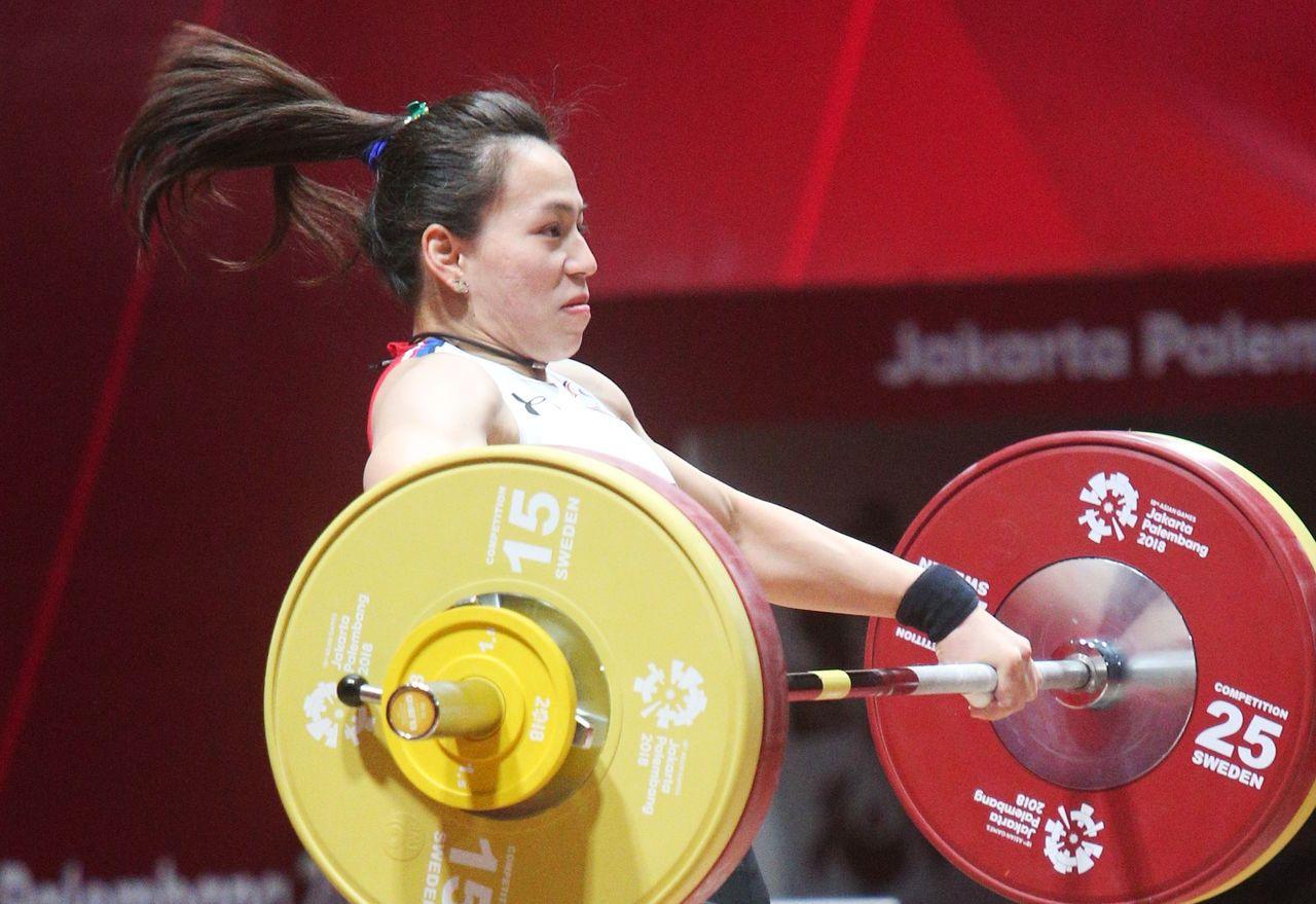 雅加達亞運舉重女子58公斤級今天登場,台灣舉重女將郭婞淳成功在此摘下金牌。特派記...