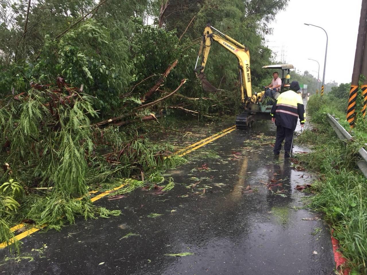 府安堤頂道路因路樹倒塌交通受阻,熱心民眾開怪手來幫忙三分局員警清除。圖/員警提供