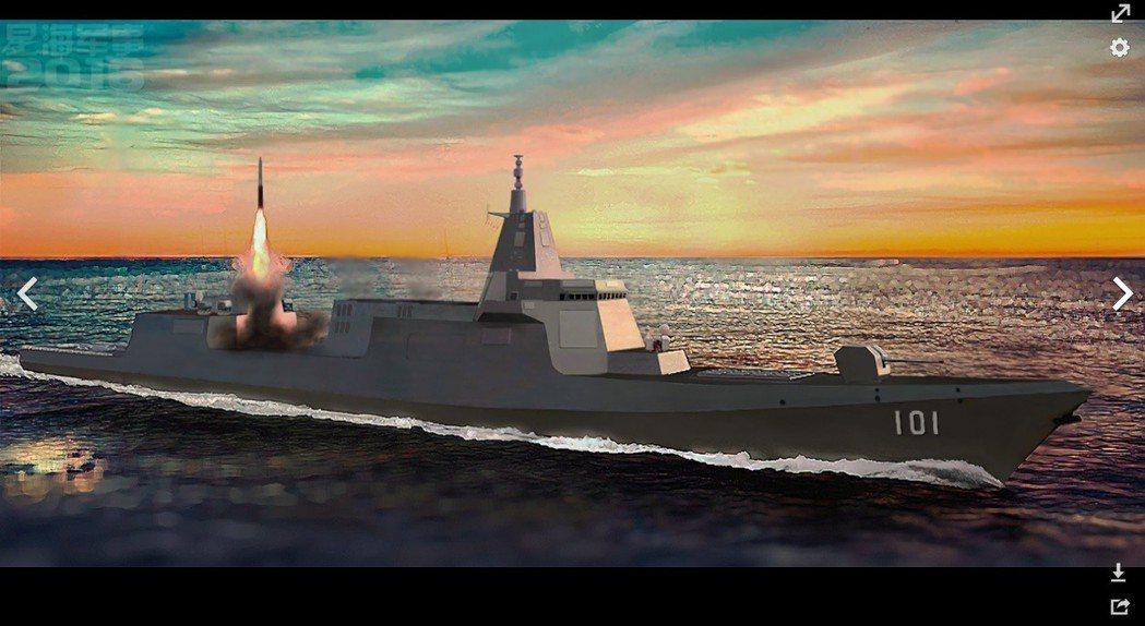 055型飛彈驅逐艦模擬圖。 圖/摘自維基百科