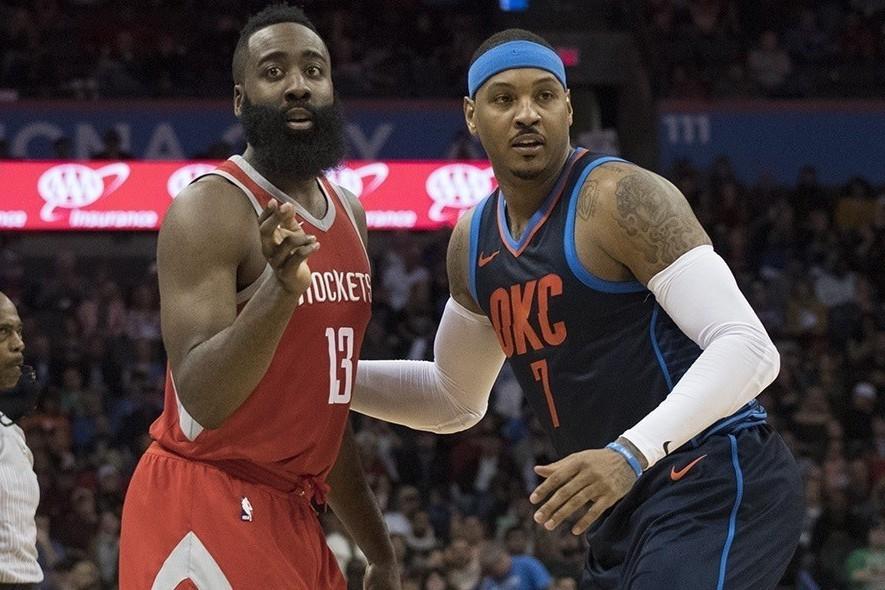 哈登(左)再度重申,完全不擔心新加入的安東尼(右)適應問題。 NBA