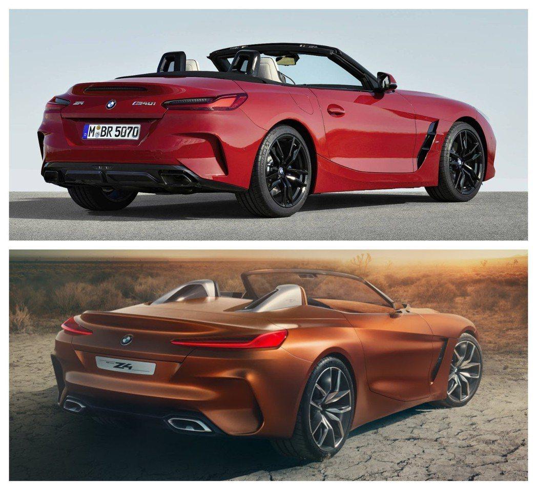 圖上為量產版新世代BMW Z4(G29),圖下為概念版BMW Concept Z...