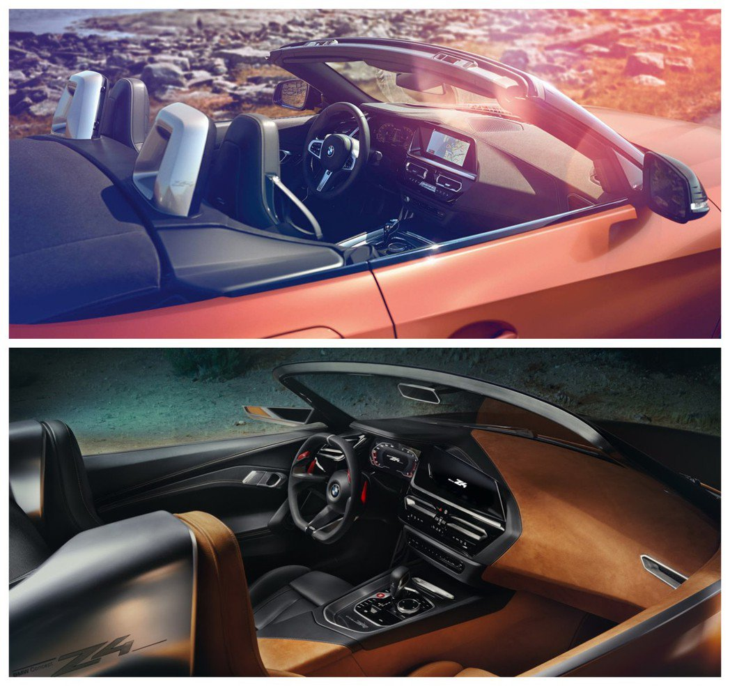 圖上為量產版新世代BMW Z4(G29)內裝,圖下為概念版BMW Concept...