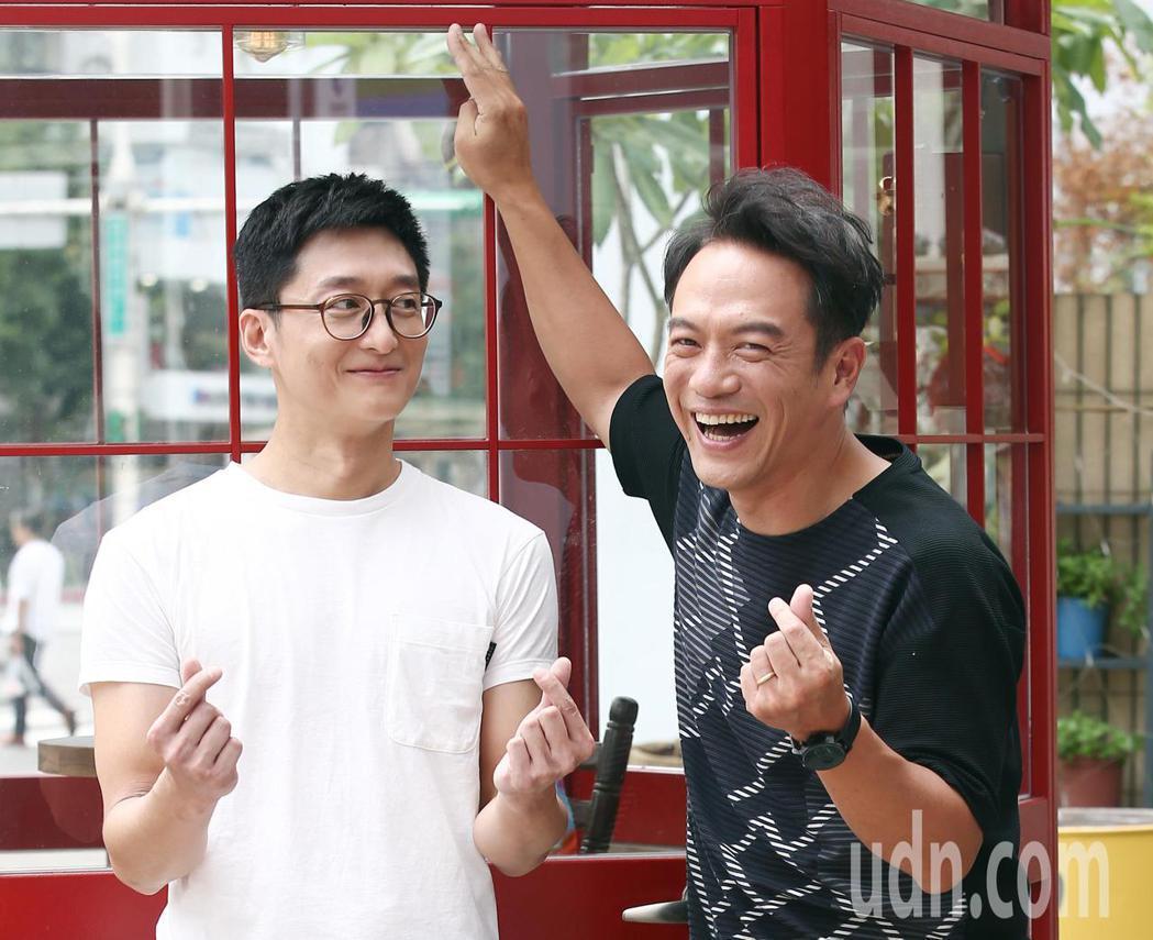 公視4K新時代劇《憤怒的菩薩》七夕時在桃園電影節開幕首映,劇中演員柯宇綸(左)與