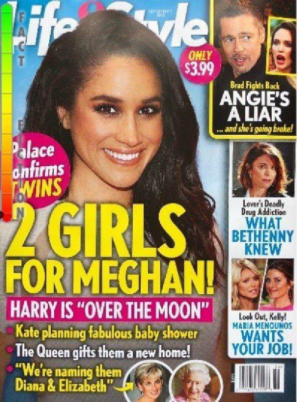 美國雜誌封面卻說梅根懷的是一對雙胞女孩。圖/摘自Life & Style
